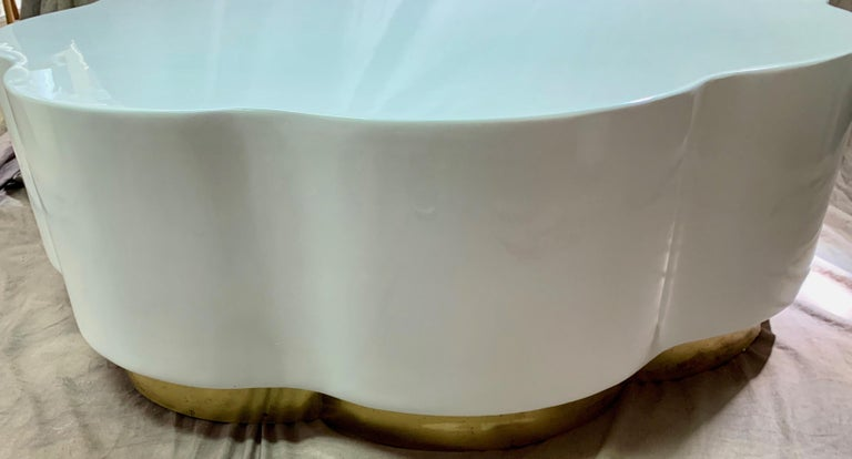 Robert Kuo Leaf Design Lacquered Cocktail Table For Sale 5