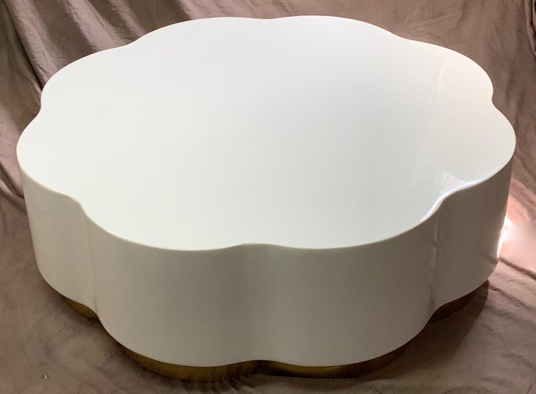Robert Kuo lacquered coffee table, restored finish in Farrow and Ball