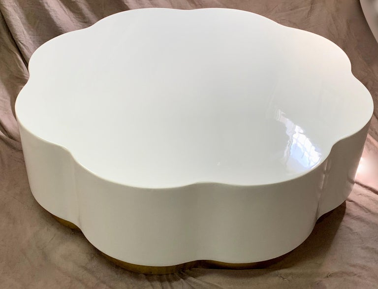 Modern Robert Kuo Leaf Design Lacquered Cocktail Table For Sale