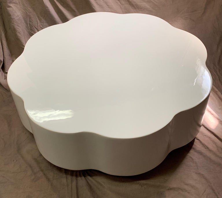 Contemporary Robert Kuo Leaf Design Lacquered Cocktail Table For Sale