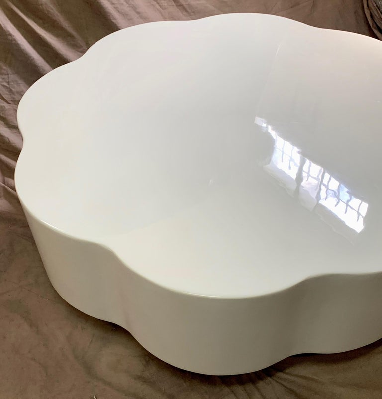 Robert Kuo Leaf Design Lacquered Cocktail Table For Sale 1