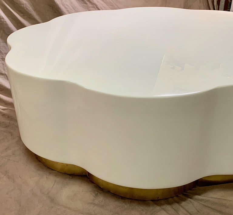 Robert Kuo Leaf Design Lacquered Cocktail Table For Sale 2