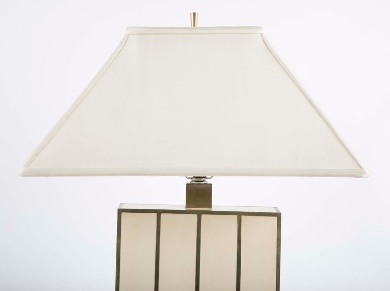 Mid-Century Modern Robert Kuo Table Lamp with Ivory Colored Panels and Brass Banding For Sale