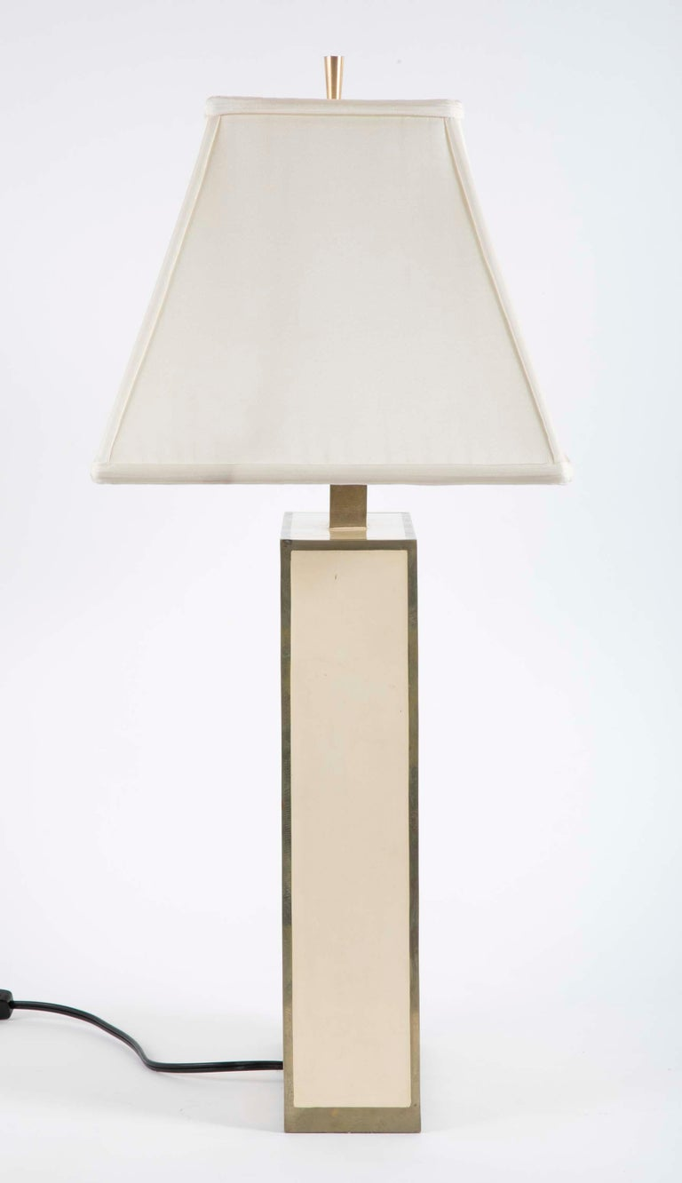 20th Century Robert Kuo Table Lamp with Ivory Colored Panels and Brass Banding For Sale