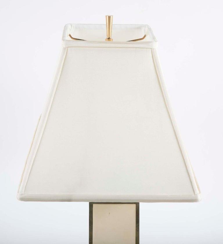 Robert Kuo Table Lamp with Ivory Colored Panels and Brass Banding For Sale 1