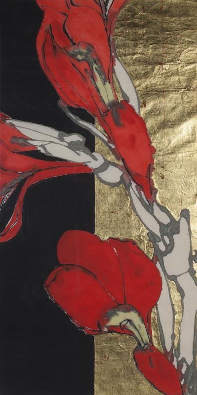 Large Acrylic, Gold Leaf Painting Handmade Japanese Paper,  Pattern & Decoration
