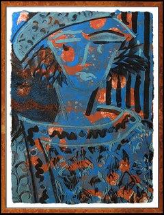 Robert Kushner Original Monoprint Painting Signed Abstract Large Portrait Art
