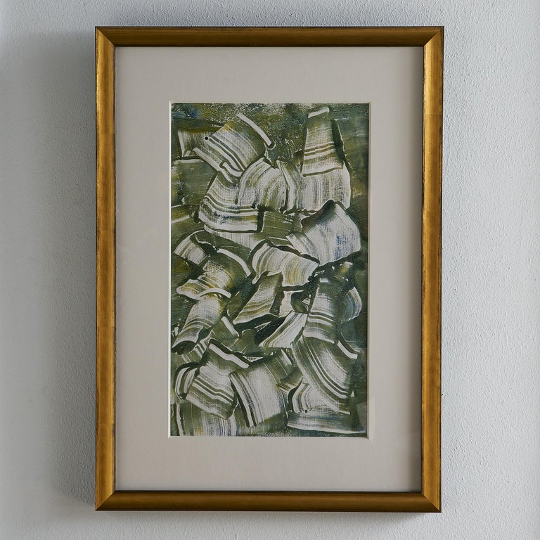 A mixed-media work on paper by French Artist Robert Ladou (1929-2014), presented under Museum Glass in a custom frame, circa 1970s.   Robert Ladou is a Postwar & Contemporary painter who is recognized worldwide for his equestrian portraiture. We