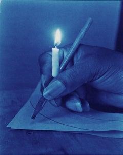 Illuminated Manuscript - Surreal blue cyanotype hand & candle still life