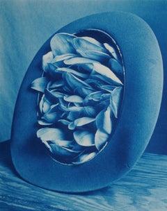 Tulip Tree Hat - Blue cyanotype tulip flower petals in hat, surreal still life