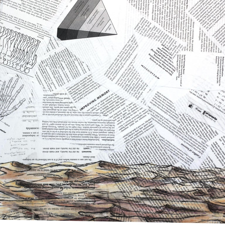 Robert Lebsack creates artworks using mixed media with ink, acrylic and charcoal on archival copies of newspaper or sheet music. His street art tends to focus on social and cultural issues using bits and pieces of headlines, articles and ads as the