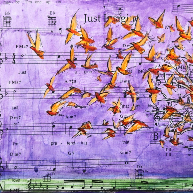Robert Lebsack creates artworks using mixed media with ink, acrylic and charcoal on archival copies of newspaper, textbooks, or sheet music. His street art tends to focus on social and cultural issues using bits and pieces of headlines, articles and