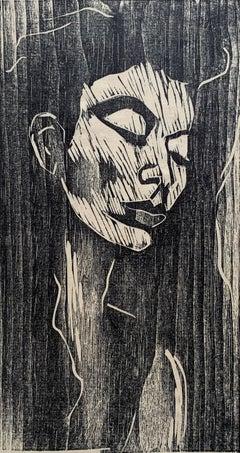 "1988 ""Portrait of a Woman"" Woodcut Print Robert Lederman Original"