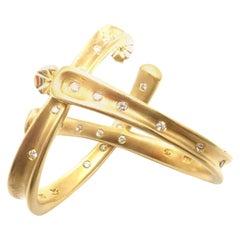 Robert Lee Morris Diamond Hoop Yellow Gold Earrings