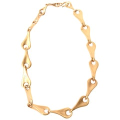 Robert Lee Morris for Artwear Gold Plated Sterling Silver Sculptural Necklace