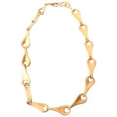 Robert Lee Morris for Artwear Gold Plated Sterling Silver Sculptural Necklace