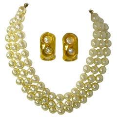 Robert Lee Morris Vintage Pearl Necklace and Earrings