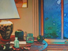 Lamp and Table, Painting, Oil on Glass