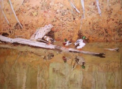 Mallards on the Canal, Painting, Oil on Canvas