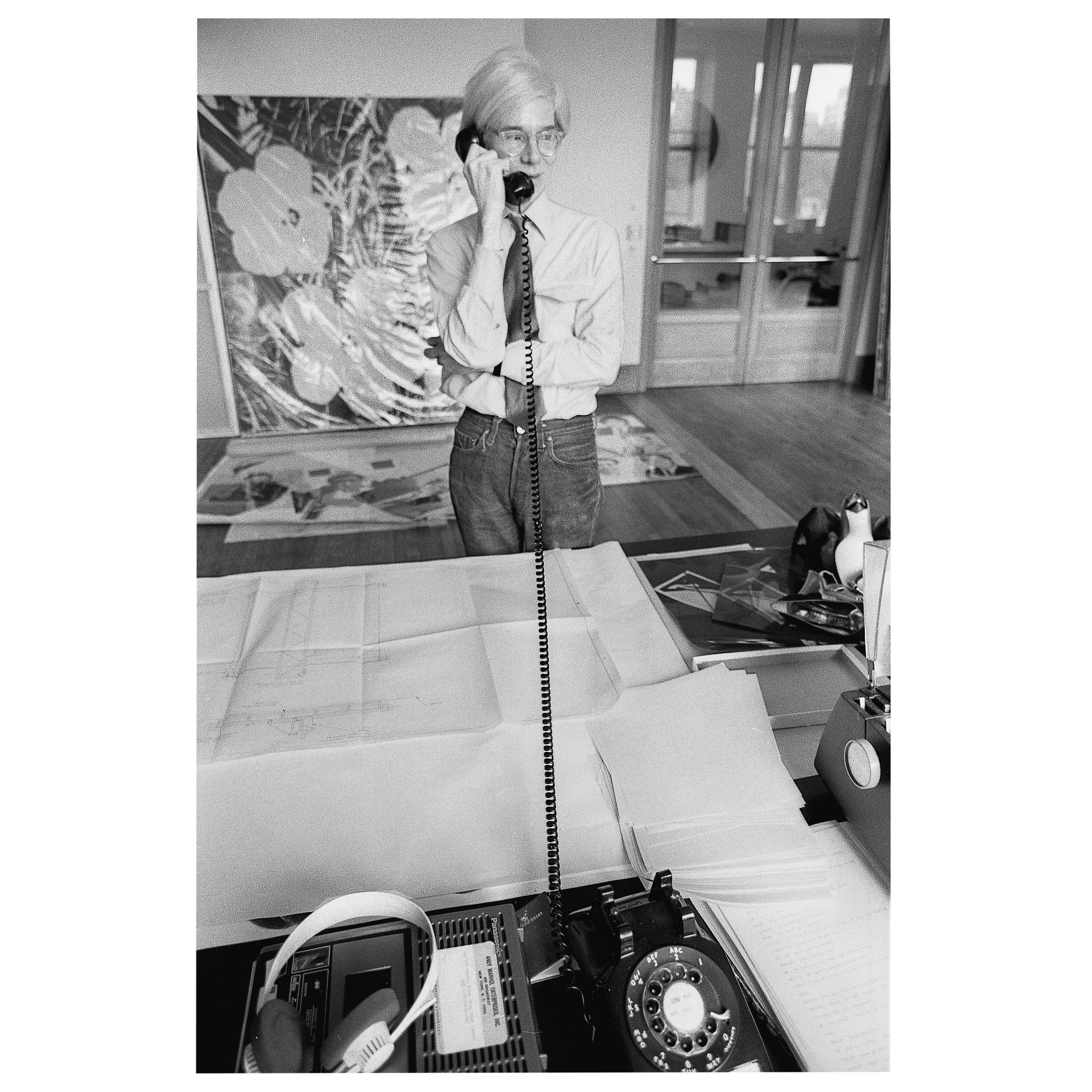 """Robert Levin, """"Andy Warhol on the Phone at Factory, NYC, 1981"""" Print, USA, 2015"""