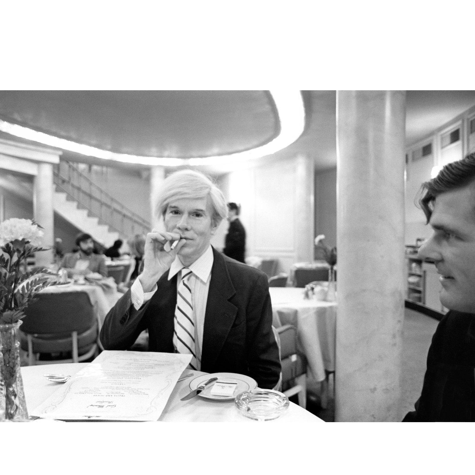 """Robert Levin, """"Andy Warhol Smokes at the Pierre Hotel 1981,"""" Print, 2015"""