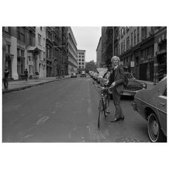 "Robert Levin, ""Andy Warhol With Bike on 11th Street, NYC 1981"" Print, USA, 2015"