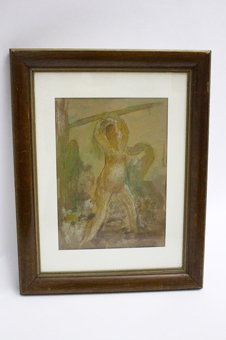 A mixed media painting by Robert Libeski, which shows a Lady with Dog, 1946 in soft colors. Robert Libeski ( 1892 - 1988 )  Robert Libeski was activ in Vienna and member of the Secession from 1952. The painting shows a wooden frame.