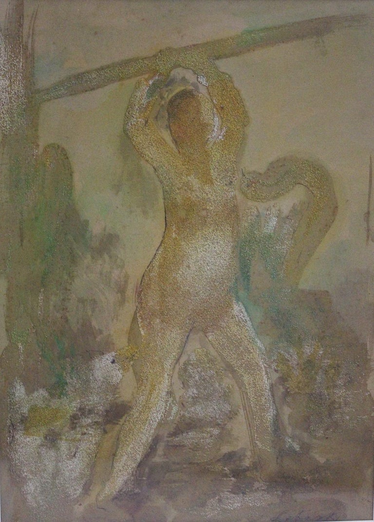 Mid-Century Modern Robert Libeski Painting Lady with Dog 1946 Mixed Media  For Sale