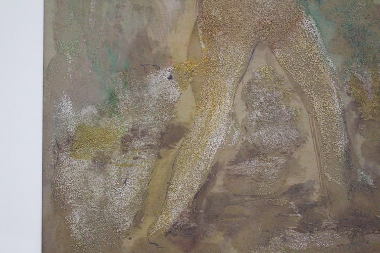Robert Libeski Painting Lady with Dog 1946 Mixed Media  In Good Condition For Sale In Vienna, AT