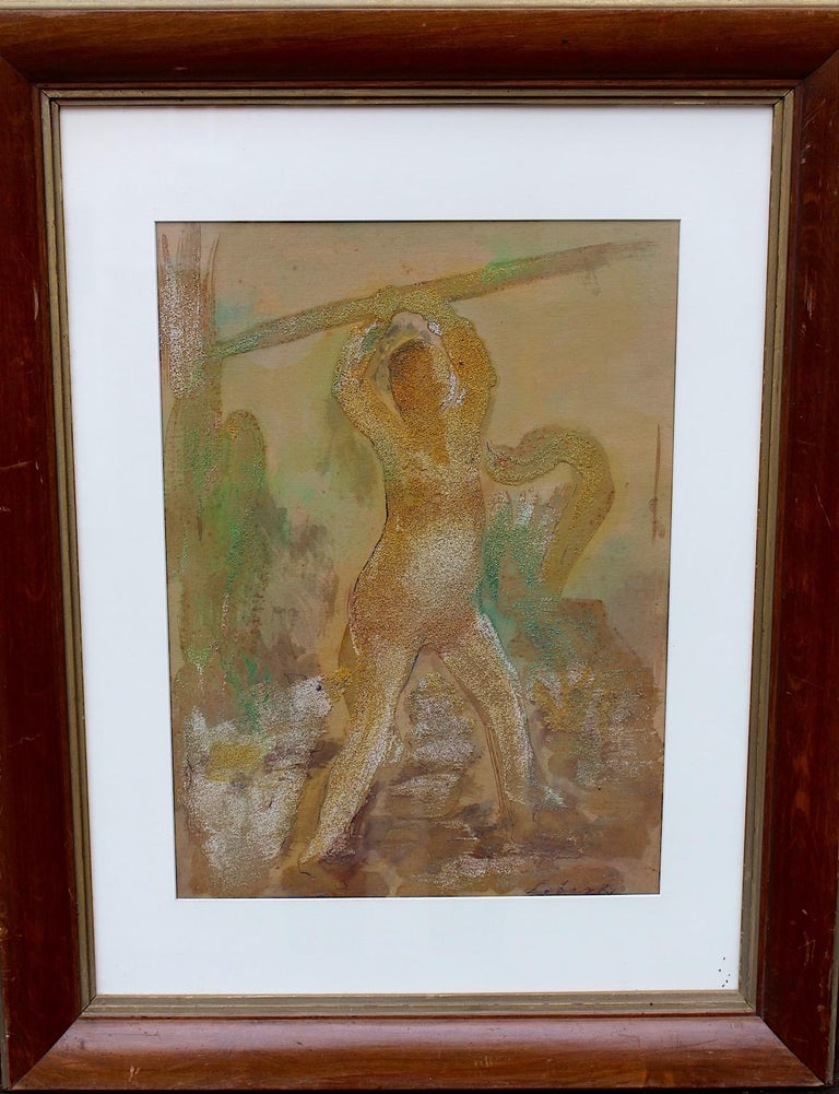 Mid-20th Century Robert Libeski Painting Lady with Dog 1946 Mixed Media  For Sale