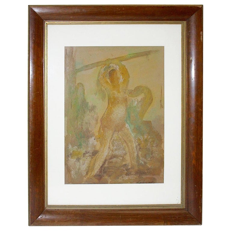 Robert Libeski Painting Lady with Dog 1946 Mixed Media  For Sale