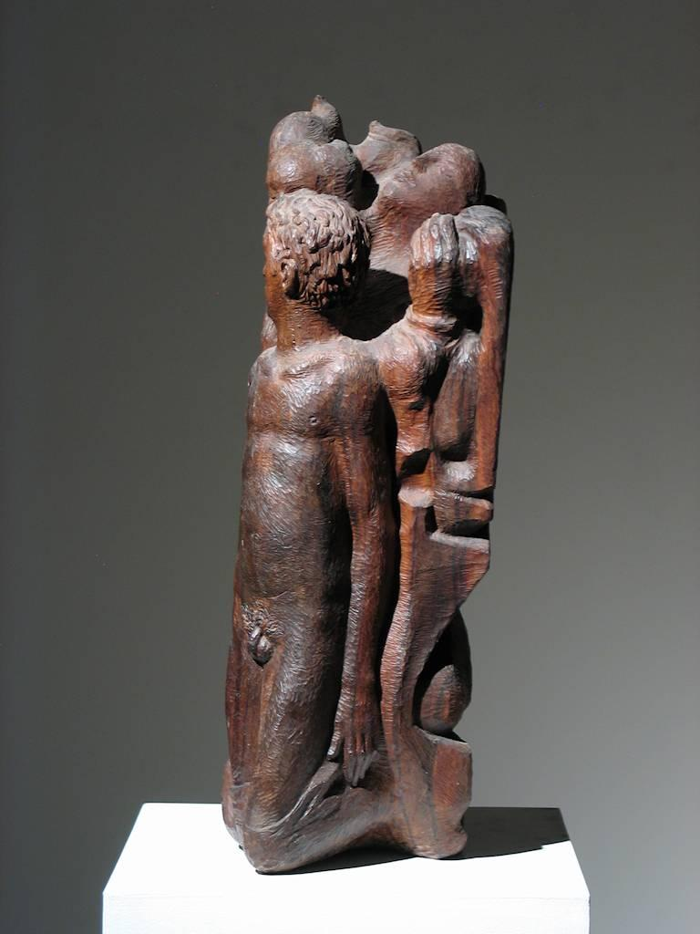 Robert Lohman Figural Group 1940s Carved Wood 30.5 x 10.5 x 13 inches