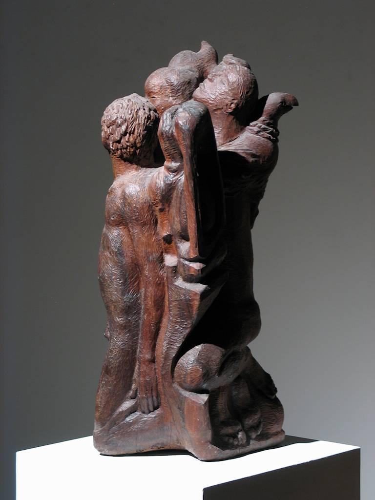 Figural Group Wood Sculpture For Sale 1