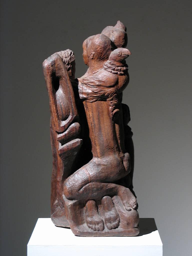 Figural Group Wood Sculpture For Sale 2