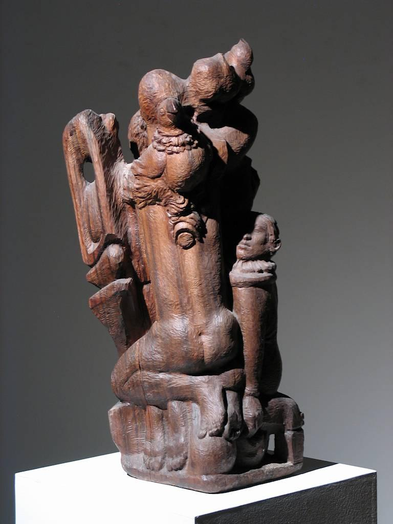 Figural Group Wood Sculpture For Sale 3
