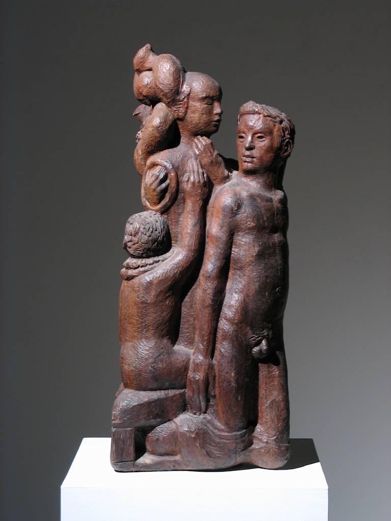 Robert Lohman Figurative Sculpture - Figural Group Wood Sculpture
