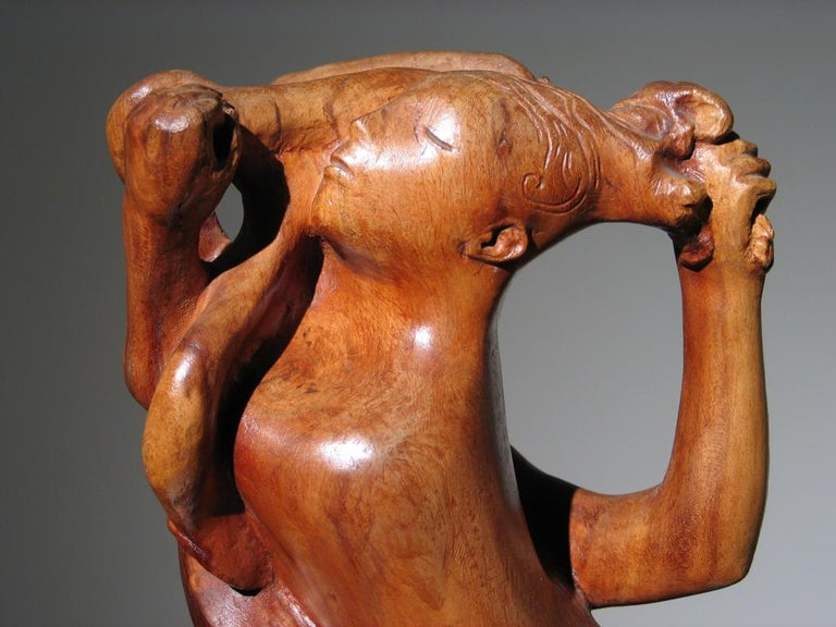 Two Women Wood Sculpture For Sale 7