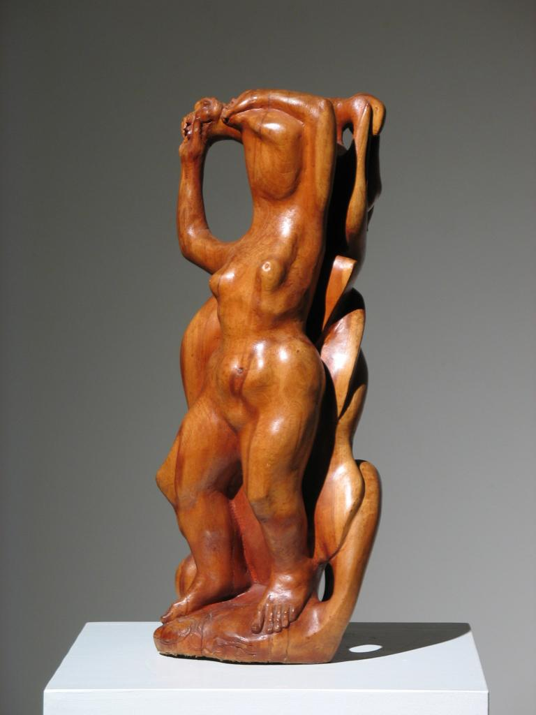 Two Women Wood Sculpture For Sale 2