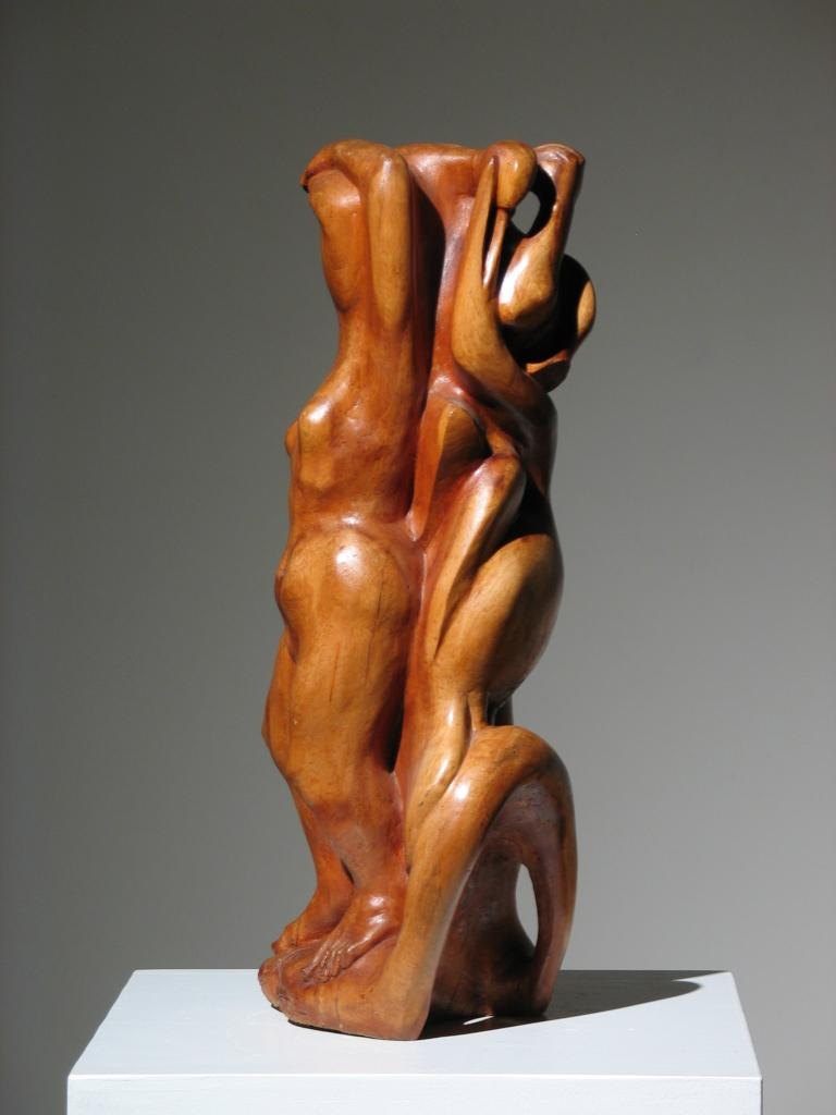 Two Women Wood Sculpture For Sale 3