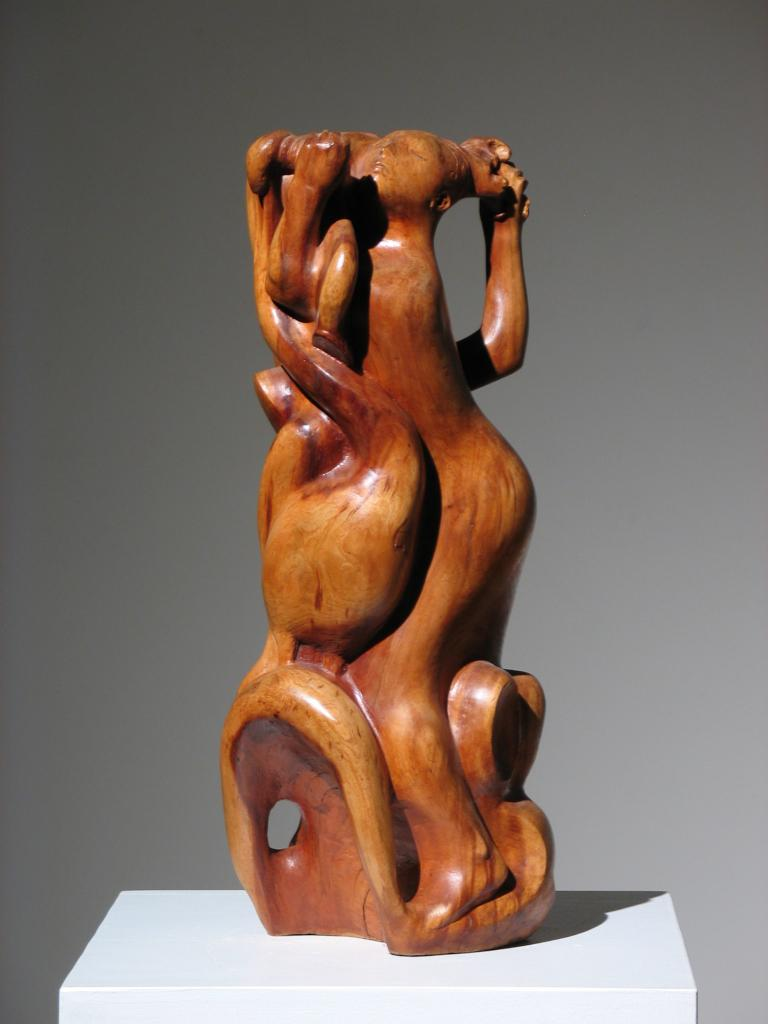 Two Women Wood Sculpture For Sale 5