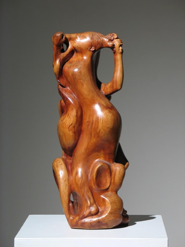 Robert Lohman Nude Sculpture - Two Women Wood Sculpture