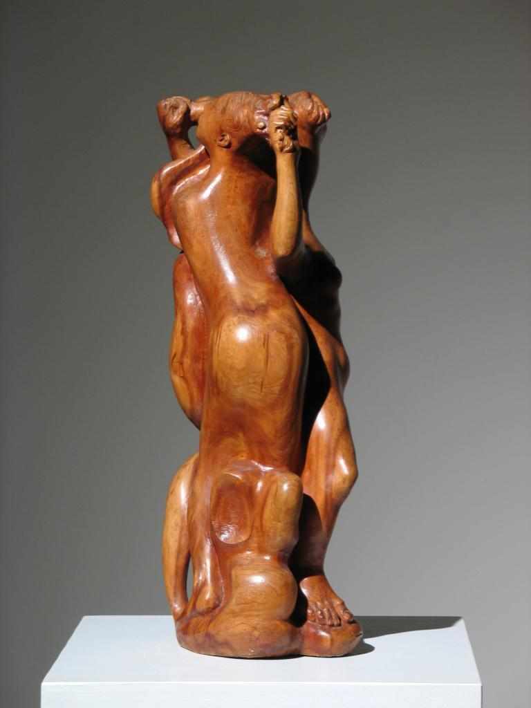 Two Women Wood Sculpture - Brown Nude Sculpture by Robert Lohman