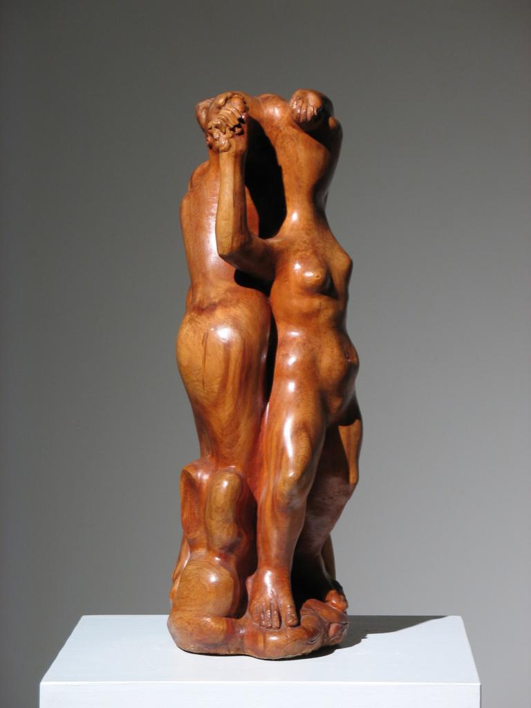 Robert Lohman [Indianapolis, IN; 1919-2001] 1950s Wood Sculpture 25 x 10 x 9
