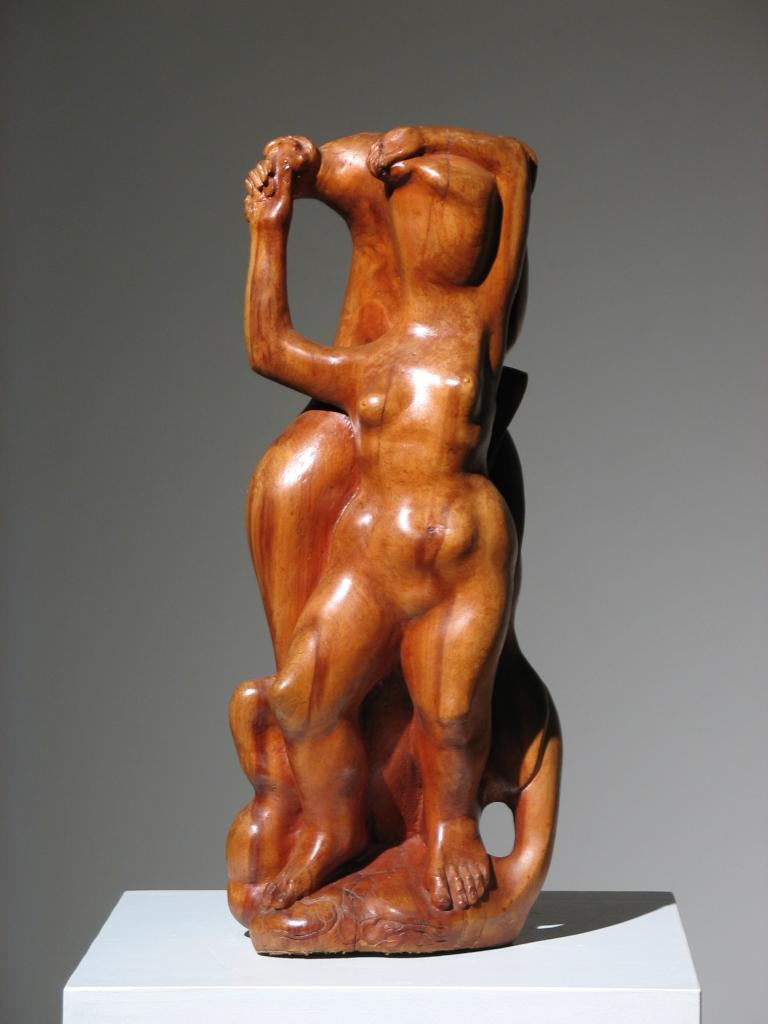 Two Women Wood Sculpture For Sale 1