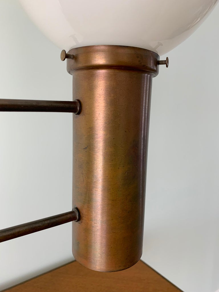 Robert Long Solid Brass and Opal Glass Lamp, Sausalito California, circa 1965 For Sale 4