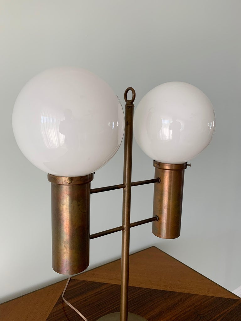 Mid-Century Modern Robert Long Solid Brass and Opal Glass Lamp, Sausalito California, circa 1965 For Sale