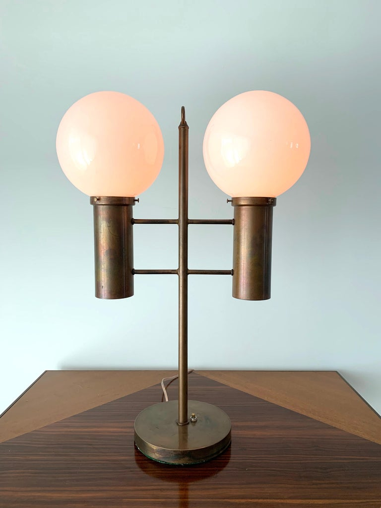American Robert Long Solid Brass and Opal Glass Lamp, Sausalito California, circa 1965 For Sale