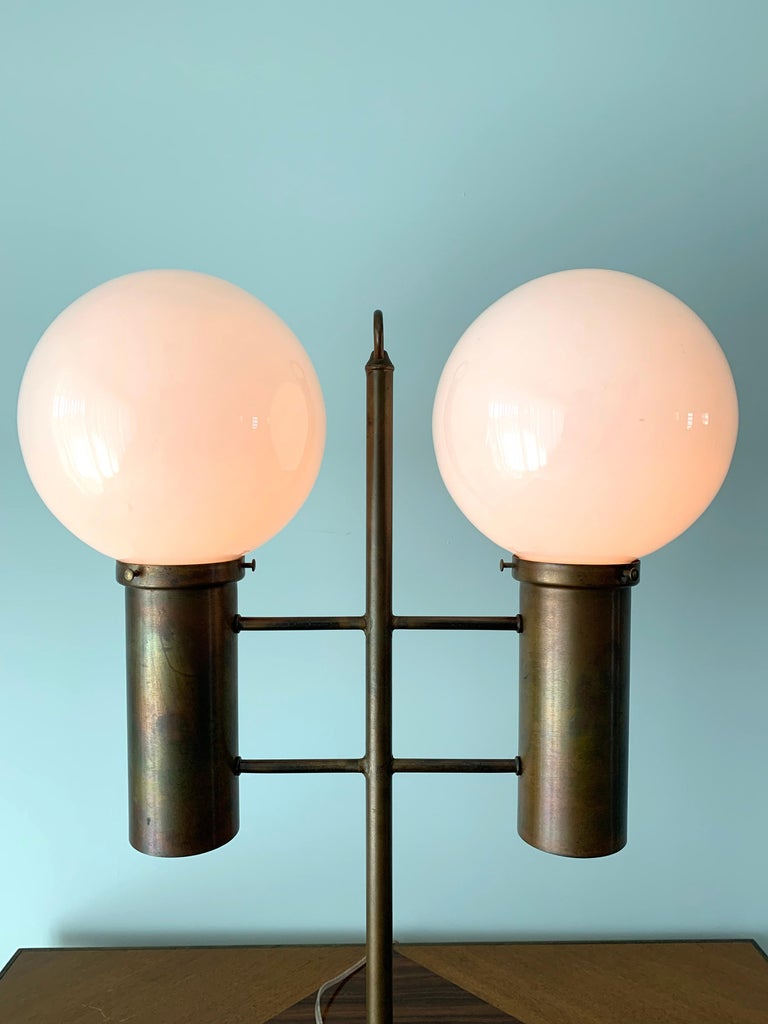 Mid-20th Century Robert Long Solid Brass and Opal Glass Lamp, Sausalito California, circa 1965 For Sale
