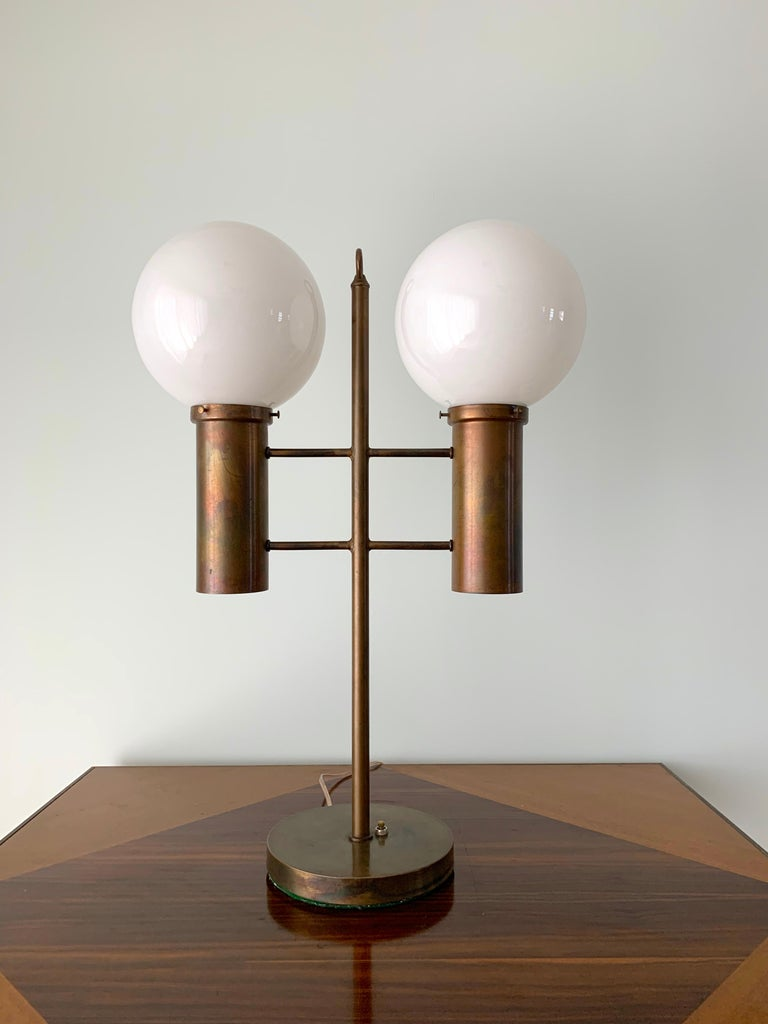 Robert Long Solid Brass and Opal Glass Lamp, Sausalito California, circa 1965 For Sale 1