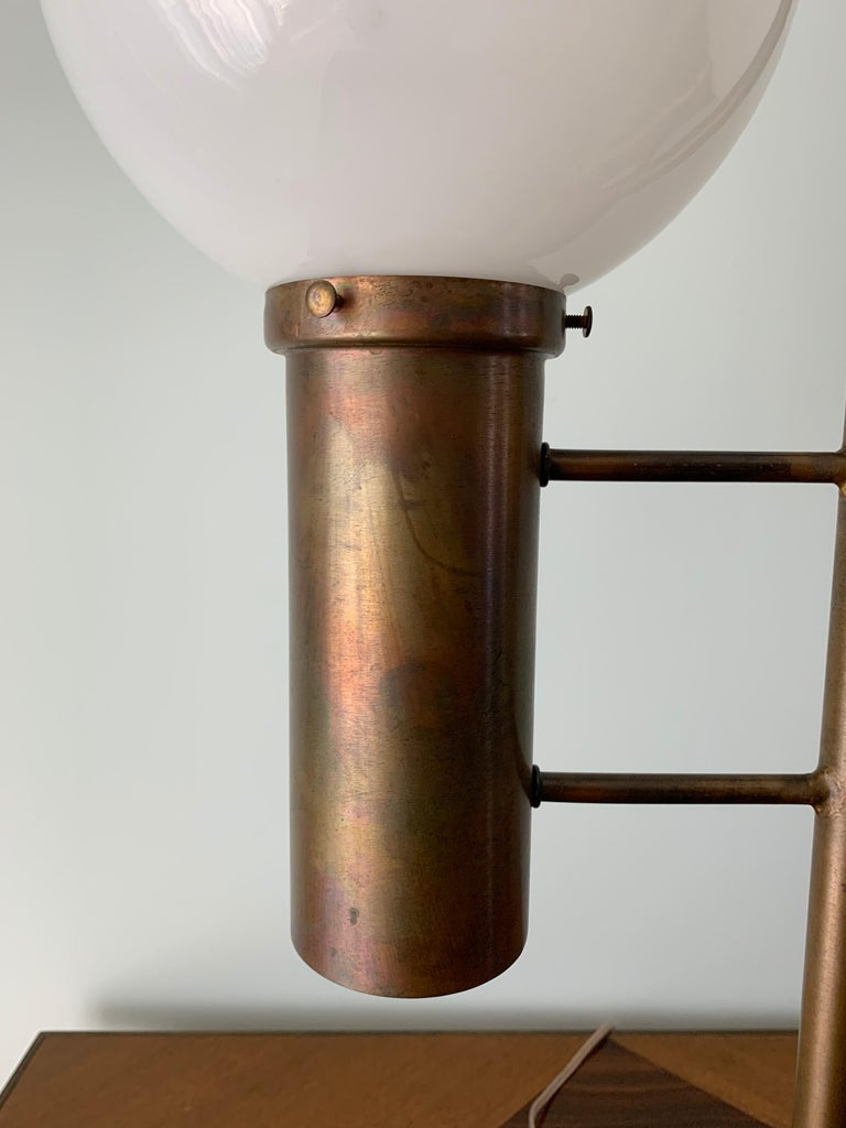 Robert Long Solid Brass and Opal Glass Lamp, Sausalito California, circa 1965 For Sale 3